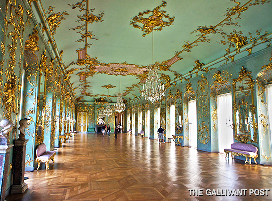 The opulence of the rooms in the Sanssouci