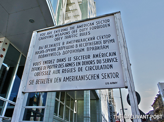 The noticeboard at Checkpoint Charlie