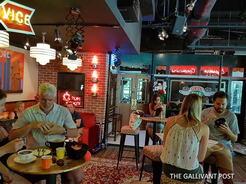 The cafe is modeld closely after Central Perk in Friends.