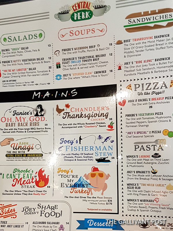 The food menu in Central Perk, Singapore