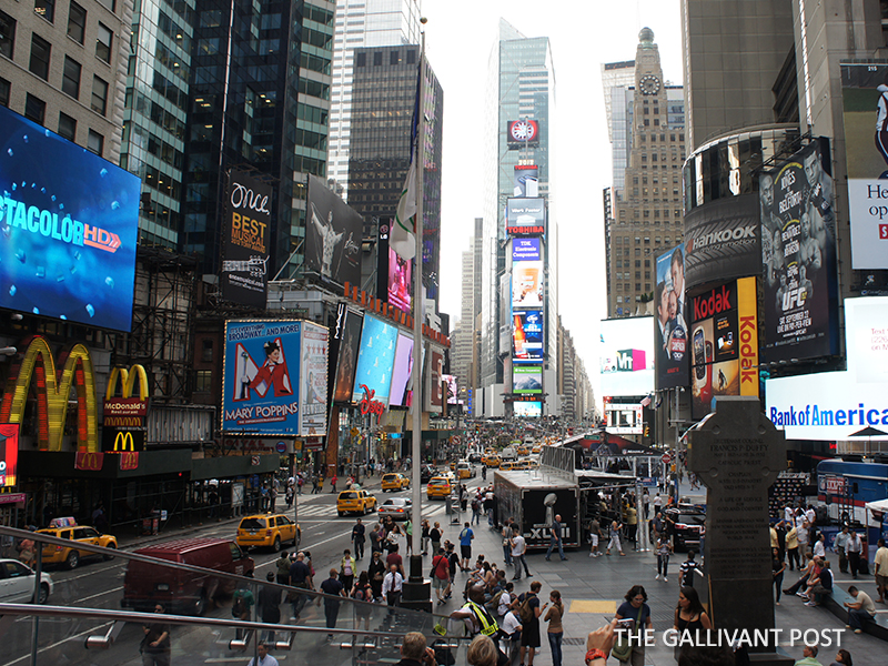Times Square is crowded at any given time of the day
