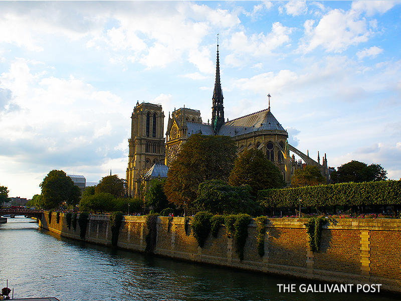The view of Notre Dame when you take a cruise down the Seine.